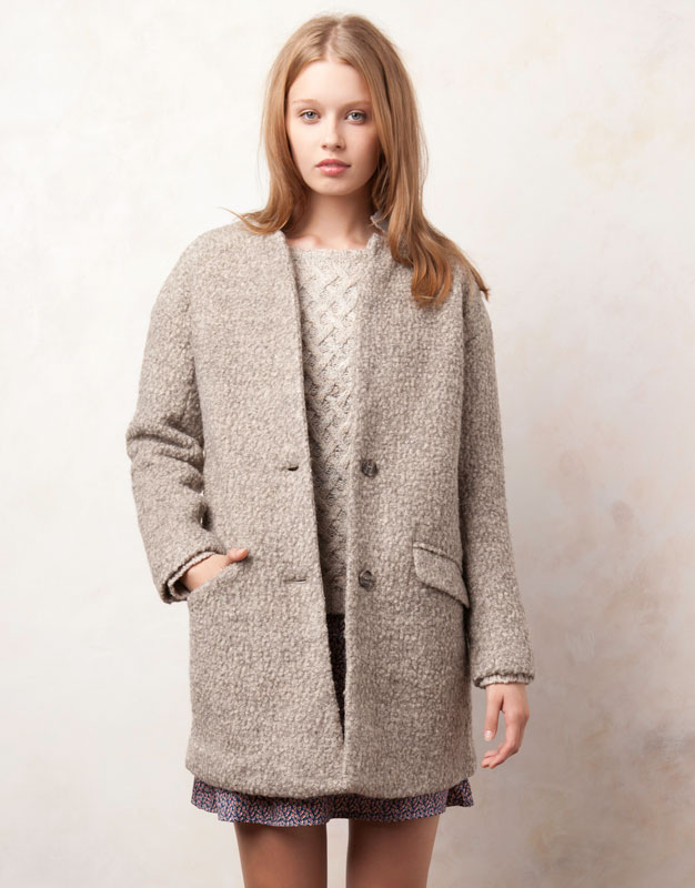 Manteau gris femme pull and bear
