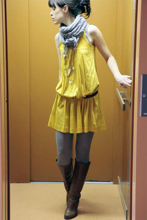 Robe jaune plissee kookai